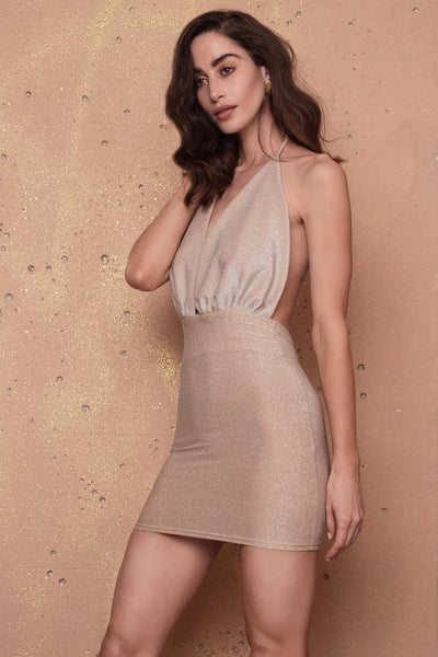 Betsy Nude Gold Dress