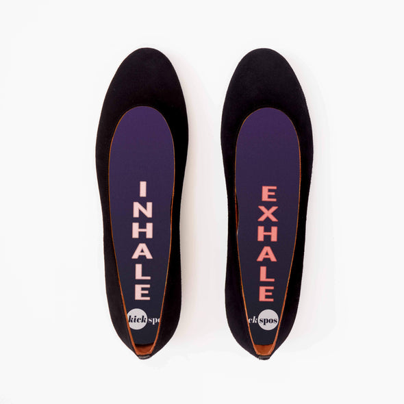 Inhale Exhale Shoe Inserts in Black Flats