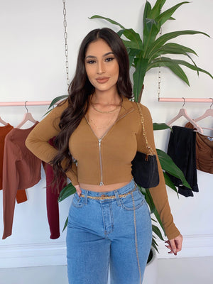 kiara long sleeve top (DARK CARAMEL)