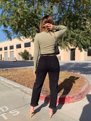 liliana mom jeans (WASHED OUT BLACK)