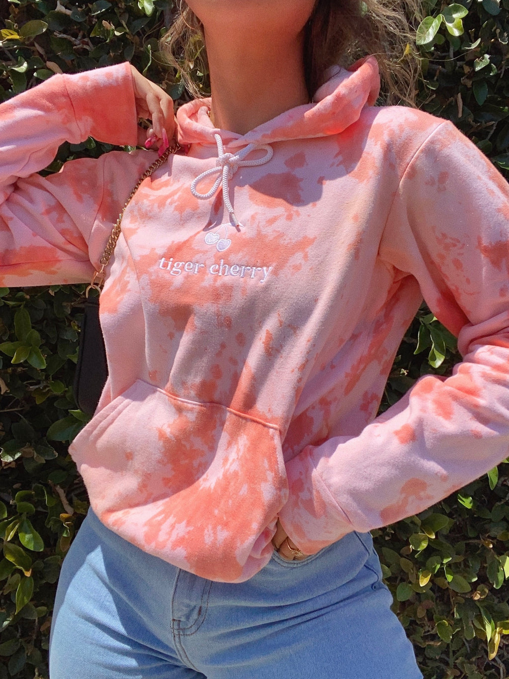 official cherry babe hoodie (PEACH TIE DYE)