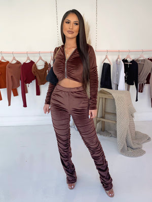 karla velour set (CHOCOLATE)