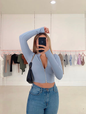kiara long sleeve top (DENIM BLUE)