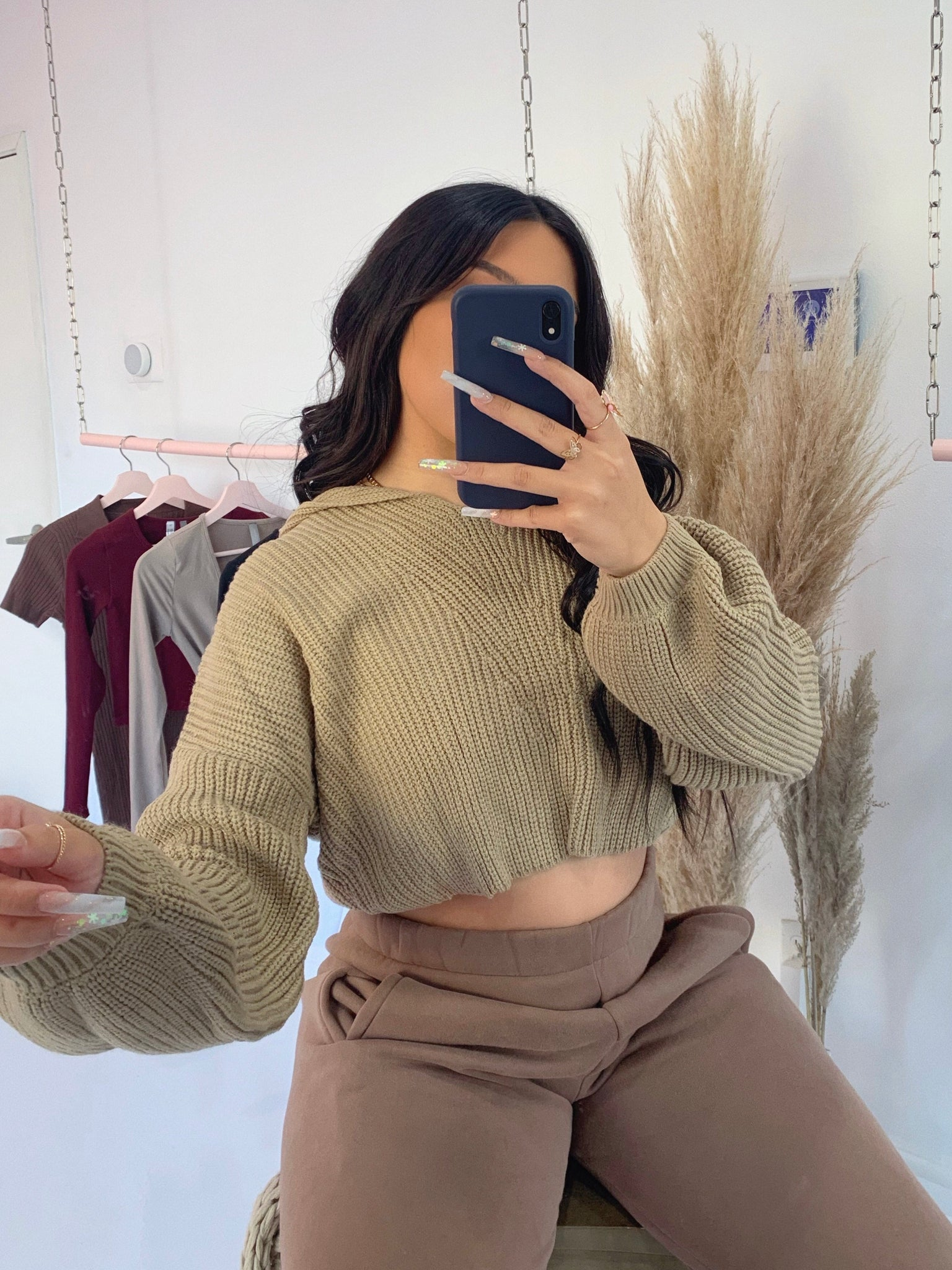alexa knit hoodie (TAUPE)