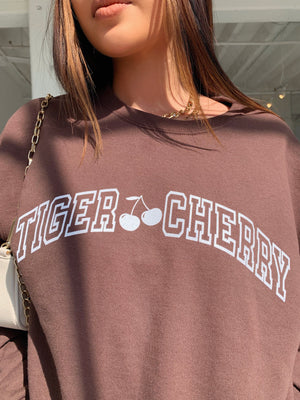 varsity crew neck (BROWN W/WHITE)