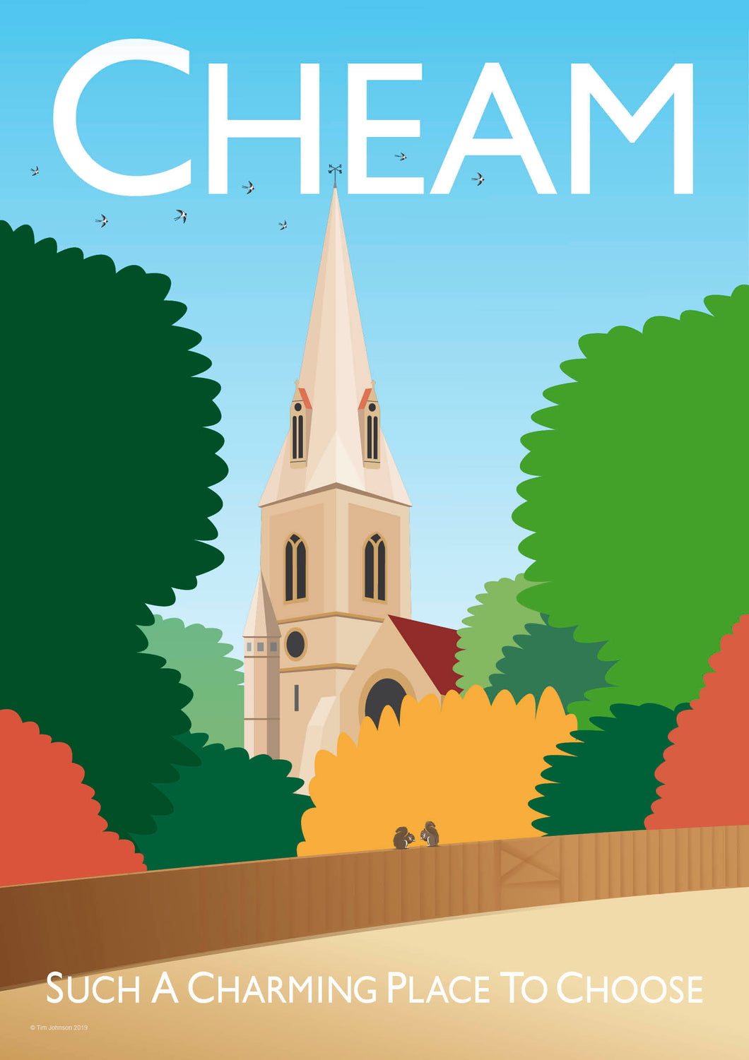 A vintage style poster of Cheam in London. Featuring the iconic village church.   Vintage style posters lovingly designed by Tim Johnson.  Available in A4 and A3. Unmounted and unframed high quality print. Shipped within UK via courier. Mounting and framing options available, please get in touch!