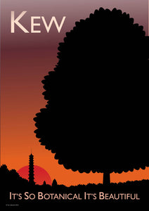 A vintage style poster of Kew in London. Featuring the iconic kew botanical gardens with the Chinese pagoda at sunset.  Vintage style posters lovingly designed by Tim Johnson.  Available in A4 and A3. Unmounted and unframed high quality print. Shipped within UK via courier. Mounting and framing options available, please get in touch!