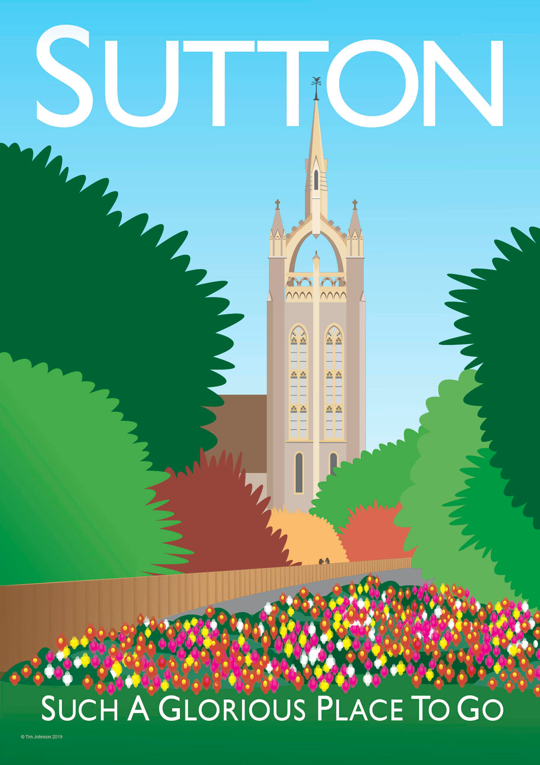 A vintage style poster of Sutton in London. Featuring the iconic village church.   Vintage style posters lovingly designed by Tim Johnson.  Available in A4 and A3. Unmounted and unframed high quality print. Shipped within UK via courier. Mounting and framing options available, please get in touch!