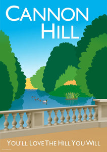 Vintage inspired poster of Cannon Hill in London featuring Cannon Hill park and ponds with iconic bridge.   Vintage style posters lovingly designed by Tim Johnson.  Available in A4 and A3. Unmounted and unframed high quality print. Shipped within UK via courier. Mounting and framing options available, please get in touch!