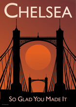 Load image into Gallery viewer, A vintage style poster of Chelsea in London featuring Chelsea iconic bridge at sunset.   Vintage style posters lovingly designed by Tim Johnson.  Available in A4 and A3. Unmounted and unframed high quality print. Shipped within UK via courier. Mounting and framing options available, please get in touch!