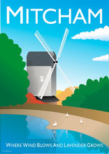 Load image into Gallery viewer, A vintage style poster of Mitcham in London featuring the iconic windmill.  Vintage style posters lovingly designed by Tim Johnson.  Available in A4 and A3. Unmounted and unframed high quality print. Shipped within UK via courier. Mounting and framing options available, please get in touch!