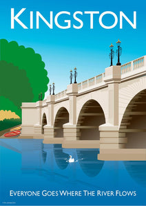 Vintage style poster based in Kingston in London, featuring the iconic Kingston Bridge.  Vintage style posters lovingly designed by Tim Johnson.  Available in A4 and A3. Unmounted and unframed high quality print. Shipped within UK via courier. Mounting and framing options available, please get in touch!