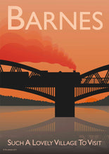 Load image into Gallery viewer, A vintage style poster of Barnes in London featuring Barne's iconic railway bridge at sunset.   Vintage style posters lovingly designed by Tim Johnson.  Available in A4 and A3. Unmounted and unframed high quality print. Shipped within UK via courier. Mounting and framing options available, please get in touch!