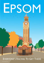 Load image into Gallery viewer, A vintage style poster based in Epsom in London. Featuring iconic clock tower.  Designed by independent artist Tim Johnson in London. Available in A4 and A3.   Unmounted and unframed high quality print. shipped within UK via courier.   Mounting and framing options available.