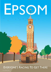 A vintage style poster based in Epsom in London. Featuring iconic clock tower.  Designed by independent artist Tim Johnson in London. Available in A4 and A3.   Unmounted and unframed high quality print. shipped within UK via courier.   Mounting and framing options available.