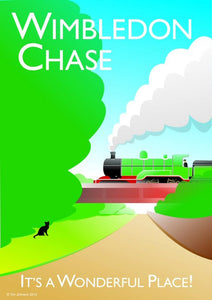 "Wimbledon chase vintage style poster, featuring ""the chase"" with railway bridge.   Designed by independent artist Tim Johnson in London. Available in A4 and A3.   Unmounted and unframed high quality print. shipped within UK via courier.   Mounting and framing options available."