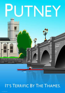 Putney Vintage Style Poster London, featuring Putney bridge.  Vintage style posters lovingly designed by Tim Johnson.  Available in A4 and A3. Unmounted and unframed high quality print. Shipped within UK via courier. Mounting and framing options available, please get in touch!