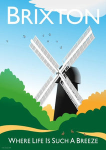 A vintage style poster of Brixton in London with the Brixton's iconic windmill.   Designed by independent artist Tim Johnson in London. Available in A4 and A3.   Unmounted and unframed high quality print. shipped within UK via courier.   Mounting and framing options available.