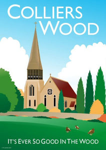 Colliers Wood Vintage Style Poster London