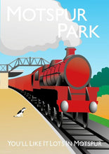 Load image into Gallery viewer, A vintage style poster of Motspur park in London featuring a steam train and railway station.  Designed by independent artist Tim Johnson in London. Available in A4 and A3.   Unmounted and unframed high quality print. shipped within UK via courier.   Mounting and framing options available.