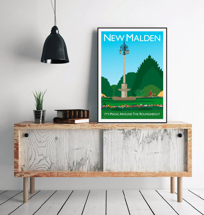 New Malden in London Vintage style poster featuring iconic roundabout.   Designed by independent artist Tim Johnson in London. Available in A4 and A3.   Unmounted and unframed high quality print. shipped within UK via courier.   Mounting and framing options available.