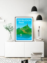 Load image into Gallery viewer, A vintage style poster of Wimbledon park featuring iconic church and pond.  Designed by independent artist Tim Johnson in London. Available in A4 and A3.   Unmounted and unframed high quality print. shipped within UK via courier.   Mounting and framing options available.
