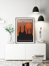 Load image into Gallery viewer, A vintage style poster of Battersea in London. Featuring the iconic Battersea power station at sunset.   Vintage style posters lovingly designed by Tim Johnson.  Available in A4 and A3. Unmounted and unframed high quality print. Shipped within UK via courier. Mounting and framing options available, please get in touch!