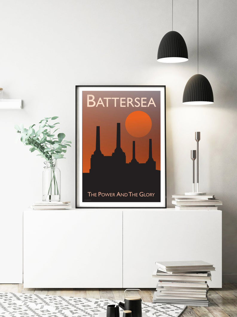 A vintage style poster of Battersea in London. Featuring the iconic Battersea power station at sunset.   Vintage style posters lovingly designed by Tim Johnson.  Available in A4 and A3. Unmounted and unframed high quality print. Shipped within UK via courier. Mounting and framing options available, please get in touch!