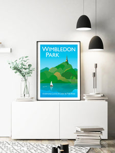 A vintage style poster of Wimbledon park featuring iconic church and pond.  Designed by independent artist Tim Johnson in London. Available in A4 and A3.   Unmounted and unframed high quality print. shipped within UK via courier.   Mounting and framing options available.