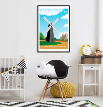 Load image into Gallery viewer, A vintage style poster of Wandsworth in London featuring their iconic windmill.  Vintage style posters lovingly designed by Tim Johnson.  Available in A4 and A3. Unmounted and unframed high quality print. Shipped within UK via courier. Mounting and framing options available, please get in touch!