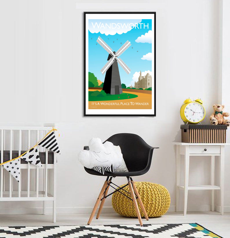 A vintage style poster of Wandsworth in London featuring their iconic windmill.  Vintage style posters lovingly designed by Tim Johnson.  Available in A4 and A3. Unmounted and unframed high quality print. Shipped within UK via courier. Mounting and framing options available, please get in touch!