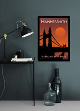 Load image into Gallery viewer, A vintage style poster of Hammersmith in London. Featuring a sunset across the iconic bridge.   Vintage style posters lovingly designed by Tim Johnson.  Available in A4 and A3. Unmounted and unframed high quality print. Shipped within UK via courier. Mounting and framing options available, please get in touch!