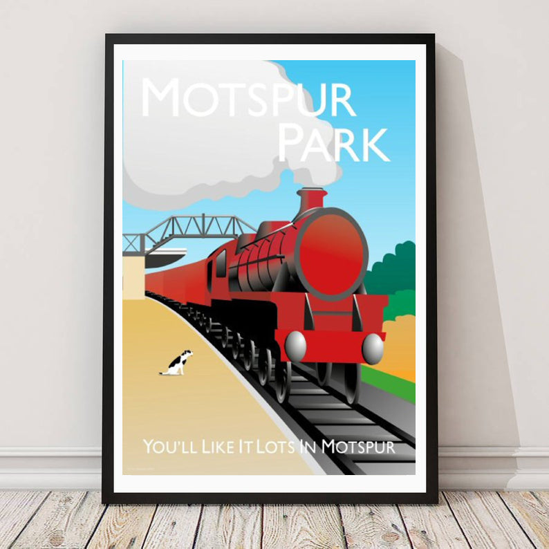 A vintage style poster of Motspur park in London featuring a steam train and railway station.  Designed by independent artist Tim Johnson in London. Available in A4 and A3.   Unmounted and unframed high quality print. shipped within UK via courier.   Mounting and framing options available.