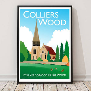 Colliers Wood Vintage style poster featuring church.  Vintage style posters lovingly designed by Tim Johnson.  Available in A4 and A3. Unmounted and unframed high quality print. Shipped within UK via courier. Mounting and framing options available, please get in touch!