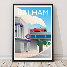Load image into Gallery viewer, A vintage style poster in Balham featuring the tube station.  Vintage style posters lovingly designed by Tim Johnson.  Available in A4 and A3. Unmounted and unframed high quality print. Shipped within UK via courier. Mounting and framing options available, please get in touch!