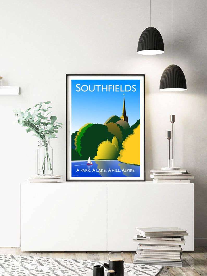A vintage inspired poster of Southfields in London featuring the park and lake.   Designed by independent artist Tim Johnson in London. Available in A4 and A3.   Unmounted and unframed high quality print. shipped within UK via courier.   Mounting and framing options available.