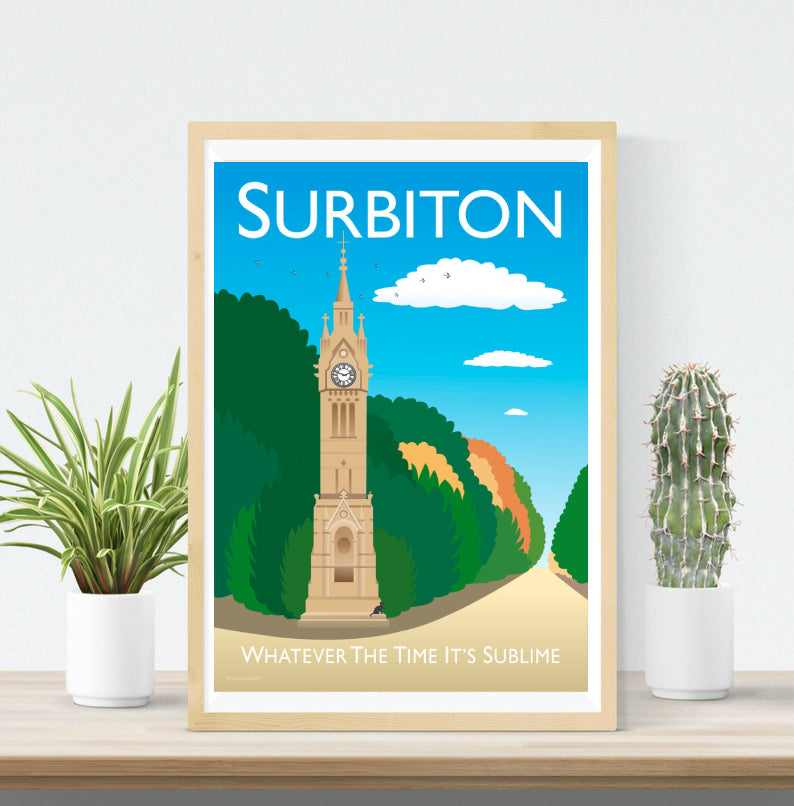 A vintage style poster of Surbiton.  Designed by independent artist Tim Johnson in London. Available in A4 and A3.   Unmounted and unframed high quality print. shipped within UK via courier.   Mounting and framing options available.