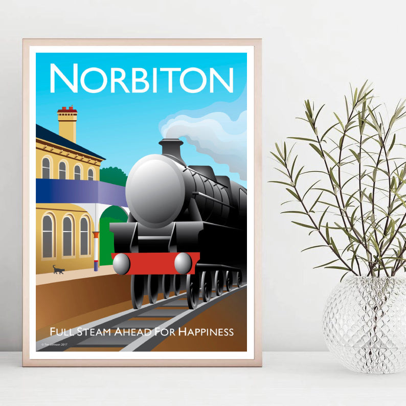 A vintage style poster of Norbiton in London featuring the railway station and steam train.  Designed by independent artist Tim Johnson in London. Available in A4 and A3.   Unmounted and unframed high quality print. shipped within UK via courier.   Mounting and framing options available.