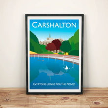 Load image into Gallery viewer, Vintage style poster featuring the town Carshalton in London, featuring the iconic pond in the centre of the town, ducks and all saints church.  Vintage style posters lovingly designed by Tim Johnson.  Available in A4 and A3. Unmounted and unframed high quality print. Shipped within UK via courier. Mounting and framing options available, please get in touch!