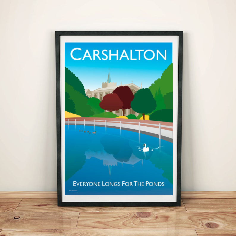 Vintage style poster featuring the town Carshalton in London, featuring the iconic pond in the centre of the town, ducks and all saints church.  Vintage style posters lovingly designed by Tim Johnson.  Available in A4 and A3. Unmounted and unframed high quality print. Shipped within UK via courier. Mounting and framing options available, please get in touch!