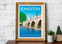 Load image into Gallery viewer, Vintage style poster based in Kingston in London, featuring the iconic Kingston Bridge.  Vintage style posters lovingly designed by Tim Johnson.  Available in A4 and A3. Unmounted and unframed high quality print. Shipped within UK via courier. Mounting and framing options available, please get in touch!