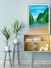 Load image into Gallery viewer, Vintage inspired poster of Cannon Hill in London featuring Cannon Hill park and ponds with iconic bridge.   Vintage style posters lovingly designed by Tim Johnson.  Available in A4 and A3. Unmounted and unframed high quality print. Shipped within UK via courier. Mounting and framing options available, please get in touch!