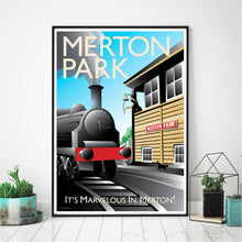 Load image into Gallery viewer, A vintage style poster of Merton Park featuring iconic railway which was previously where the Merton Tram stop is now based, design includes steam train and conductor.   Designed by independent artist Tim Johnson in London. Available in A4 and A3.   Unmounted and unframed high quality print. shipped within UK via courier.   Mounting and framing options available.