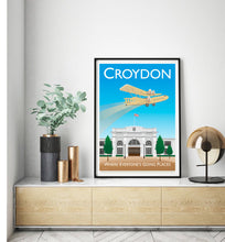 Load image into Gallery viewer, A vintage style poster of Croydon's famous air feilds in London.   Designed by independent artist Tim Johnson in London. Available in A4 and A3.   Unmounted and unframed high quality print. shipped within UK via courier.   Mounting and framing options available.