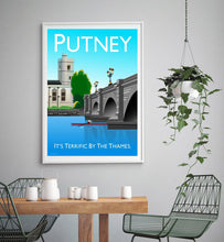 Load image into Gallery viewer, Putney Vintage Style Poster London, featuring Putney bridge.  Vintage style posters lovingly designed by Tim Johnson.  Available in A4 and A3. Unmounted and unframed high quality print. Shipped within UK via courier. Mounting and framing options available, please get in touch!