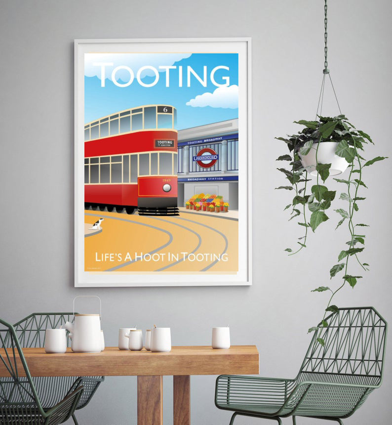 A vintage style poster of Tooting with iconic tube station and famous fruit and veg stand.   Designed by independent artist Tim Johnson in London. Available in A4 and A3.   Unmounted and unframed high quality print. shipped within UK via courier.   Mounting and framing options available.