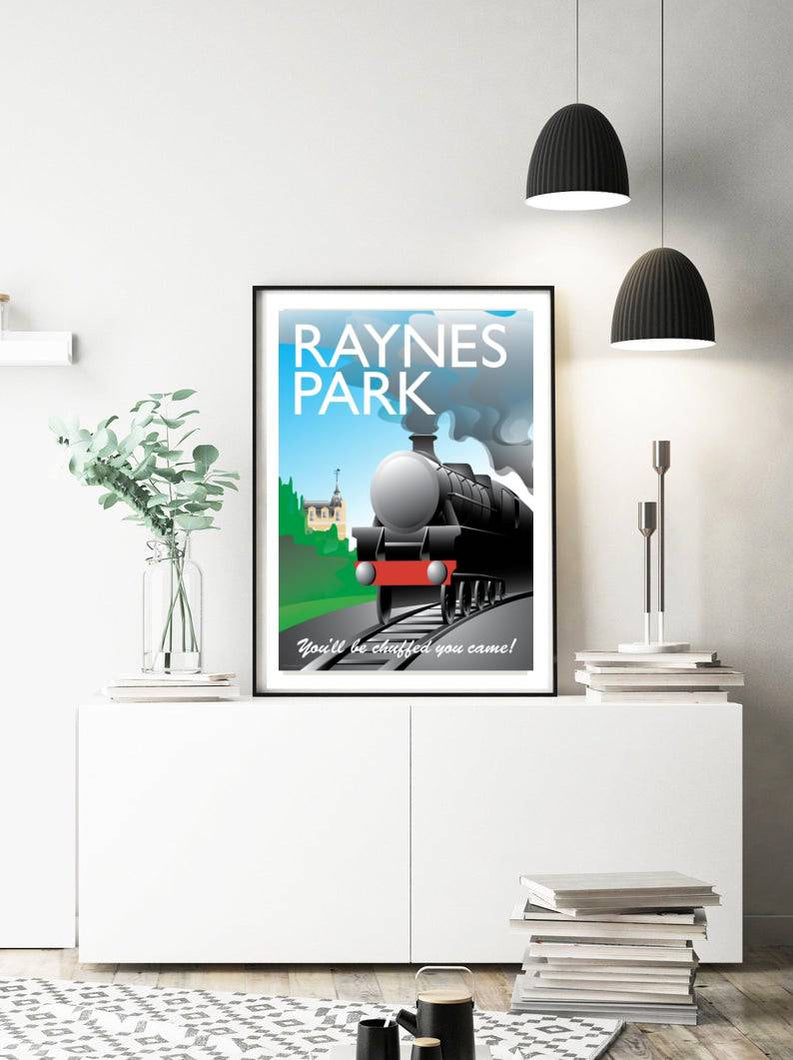 A vintage style poster of Raynes Park in London featuring the railway station and a steam train.   Designed by independent artist Tim Johnson in London. Available in A4 and A3.   Unmounted and unframed high quality print. shipped within UK via courier.   Mounting and framing options available.