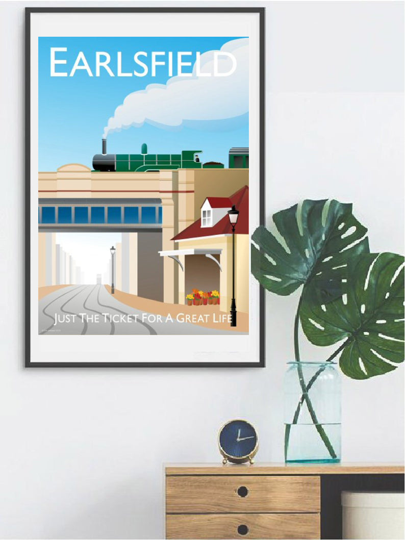 A vintage style Earlsfield in London poster featuring steam train and railway station. Designed by independent artist Tim Johnson in London. Available in A4 and A3.   Unmounted and unframed high quality print. shipped within UK via courier.   Mounting and framing options available.