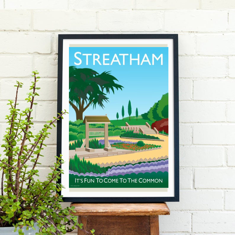 Streatham vintage inspired poster featuring streatham common.   Vintage style posters lovingly designed by Tim Johnson.  Available in A4 and A3. Unmounted and unframed high quality print. Shipped within UK via courier. Mounting and framing options available, please get in touch!