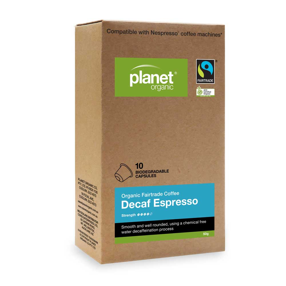 PLANET ORGANIC Coffee Capsules Espresso Decaf x 10 Pack